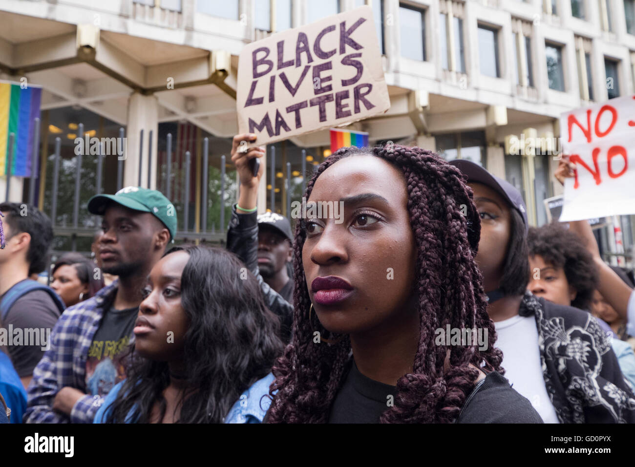 "London, UK. 10th July, 2016. ""Black Lives Matter""!  Over a thousand people marched down Oxford Street  and on to - Stock Image"