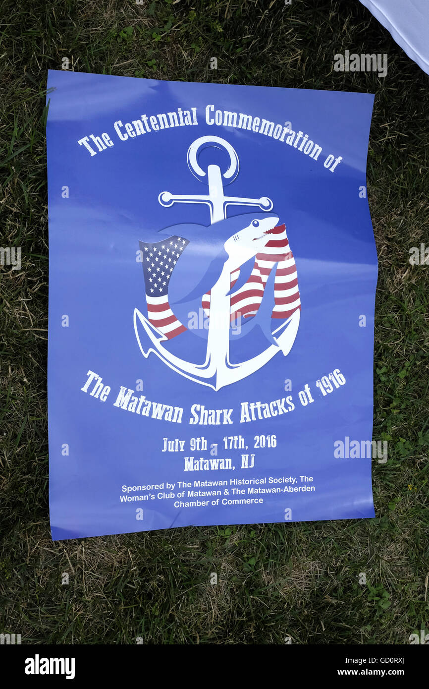 Sharkfest 2016 commemorating 100th Anniversary of shark attacks in New Jersey. Centennial Commemoration of the Matawan Stock Photo