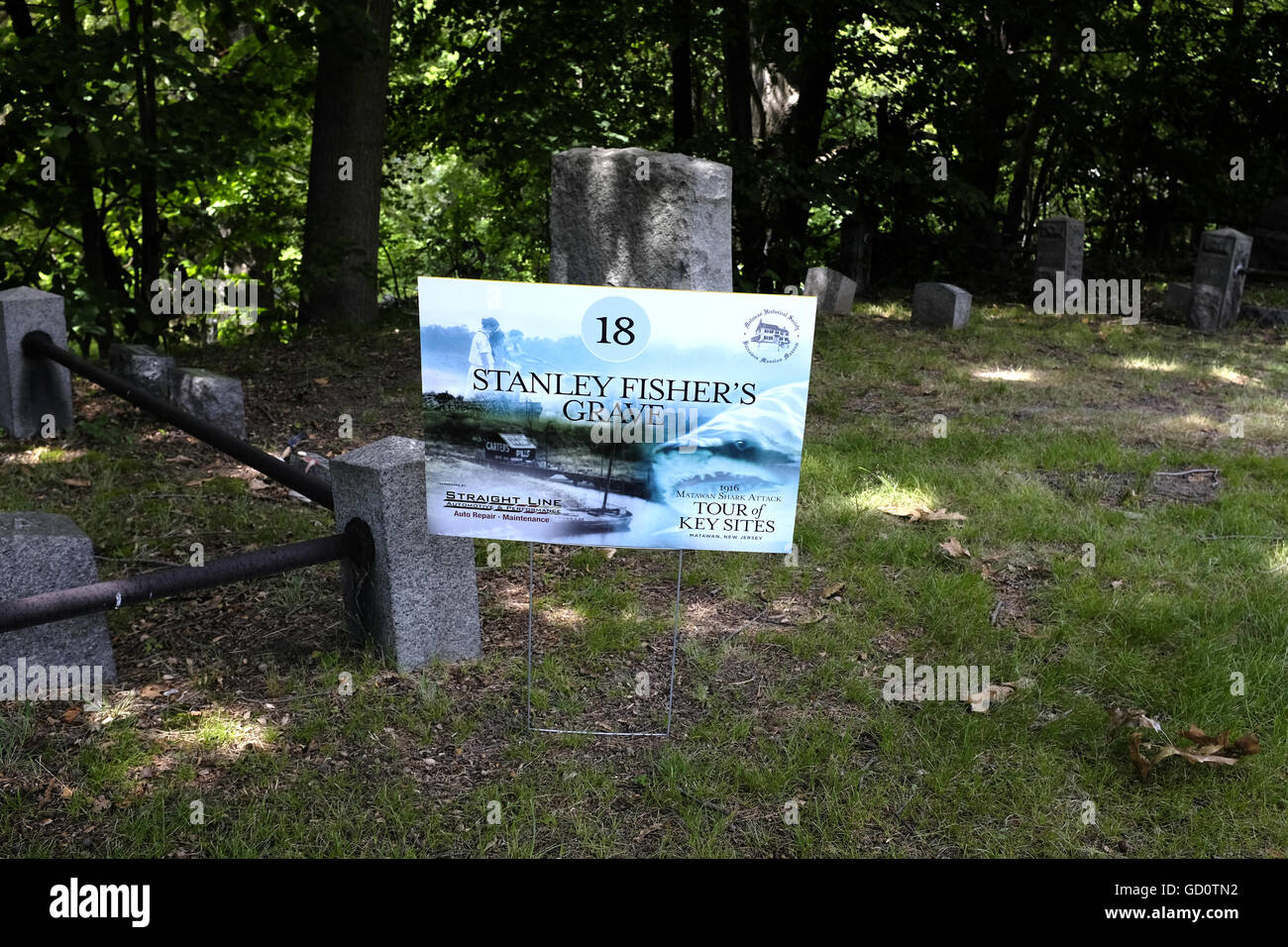 Sign for grave of Stanley Fisher's grave, who was killed in the New Jersey shore shark attacks of July 1916 - Stock Image