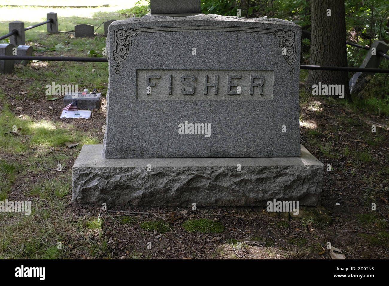 Grave of Stanley Fisher, killed in the New Jersey shore shark attacks of 1916 - Stock Image