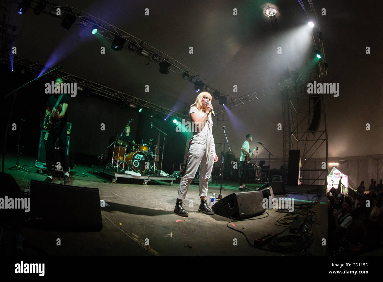Monza Italy. 10 July 2016. The English indie-pop band ANTEROS performs live on stage at Parco di Monza during the - Stock Image