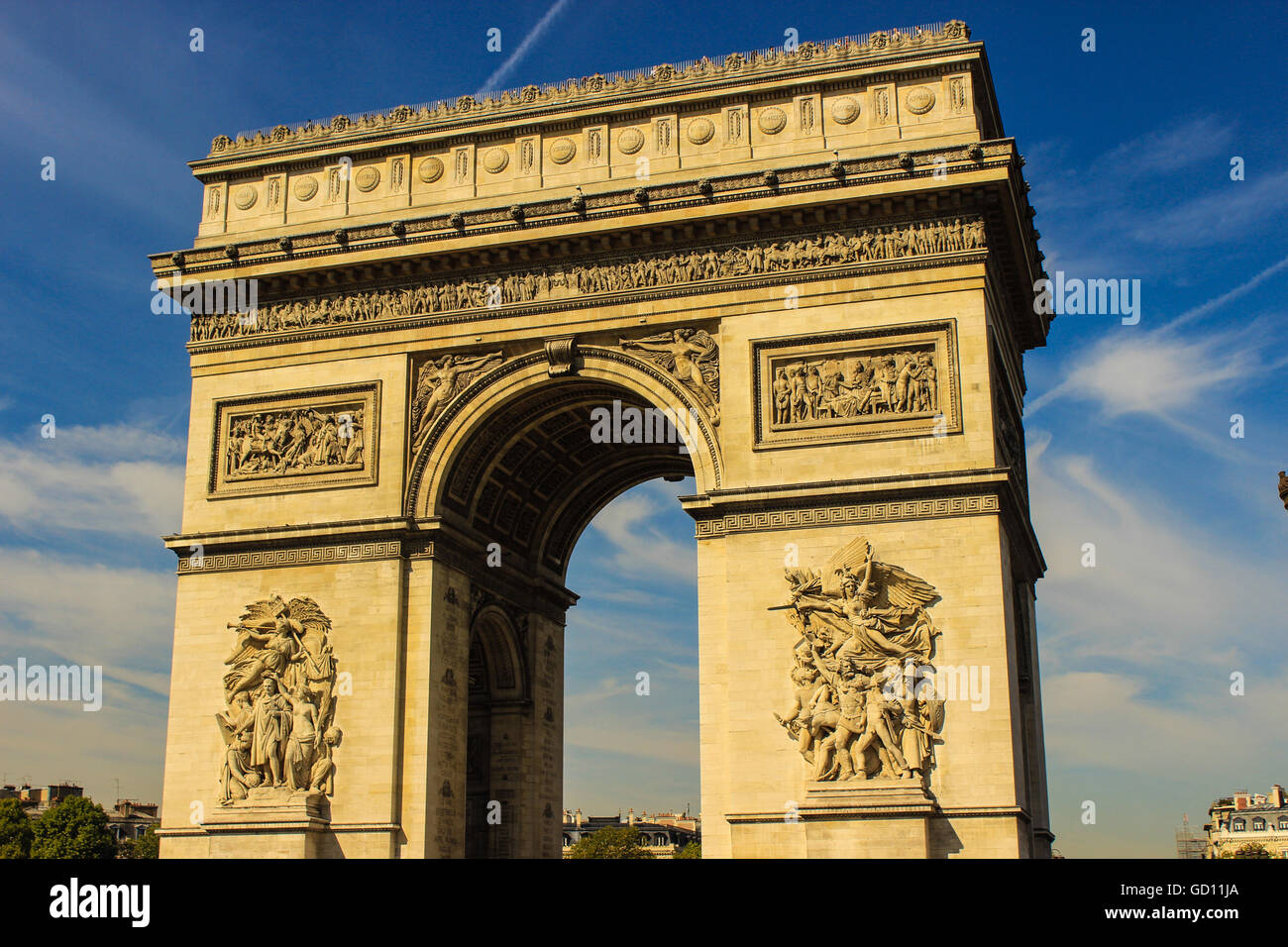 Arc de Triomphe, Paris - Clicked in summer of 2015, along the west end of Champs-Élysées. Signifies victory - Stock Image