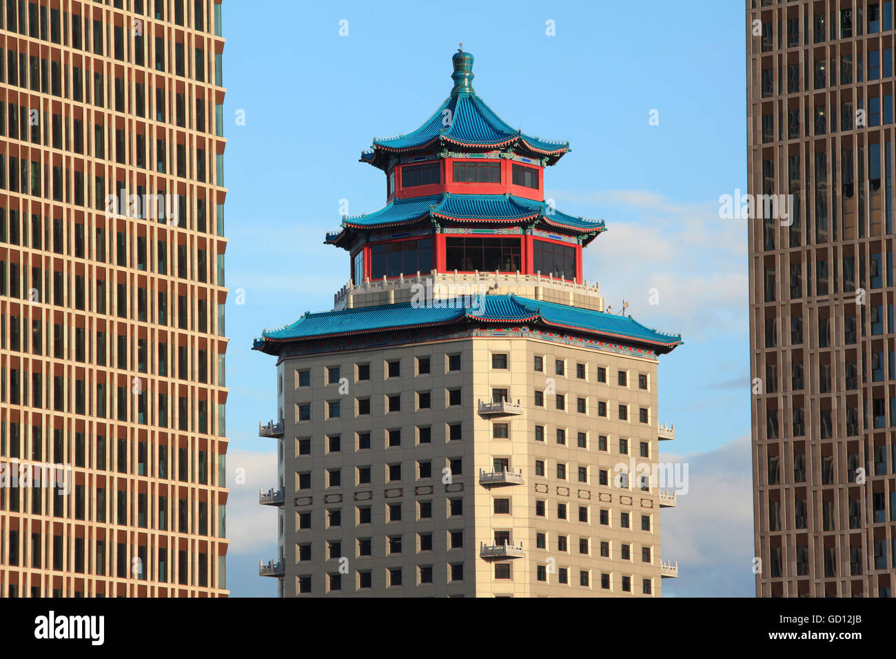 ASTANA, KAZAKHSTAN - JULY 03, 2016: Beijing Palace Soluxe Hotel at sunset  in downtown of Astana city, Kazakhstan. - Stock Image