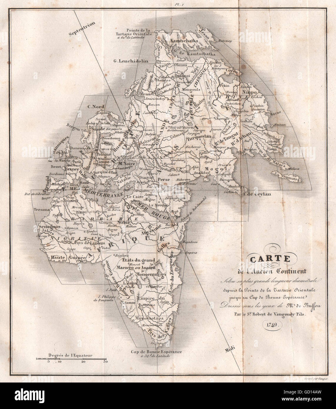 EASTERN HEMISPHERE: 'Ancien Continent' Europe Asia Africa 1749 VAUGONDY 1837 map - Stock Image