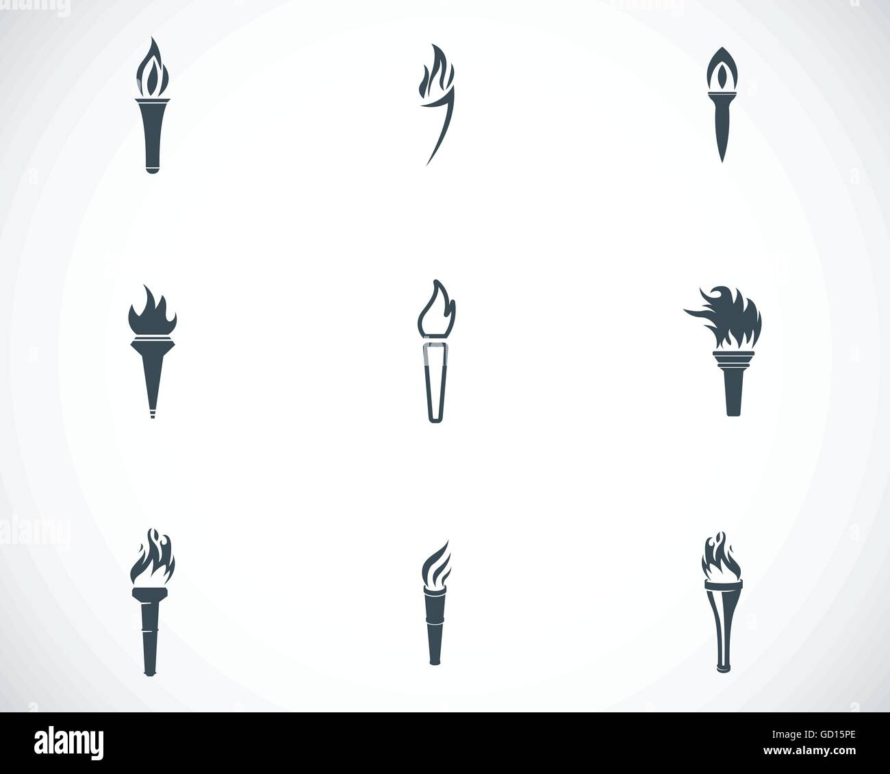 Vector black torch icons set - Stock Vector