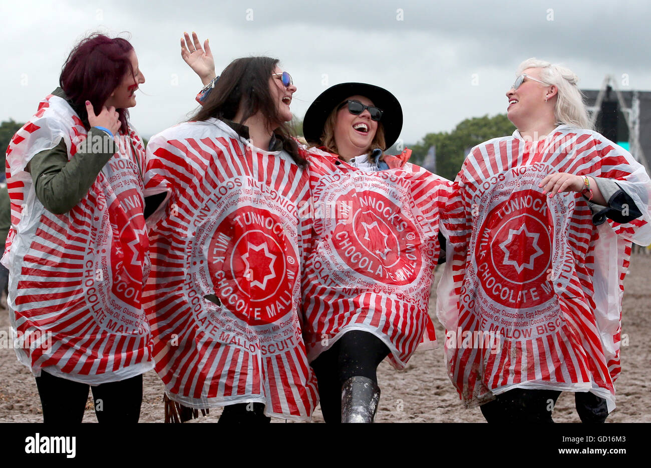 (left to right) Festivalgoers Nicole Green, Jacqui Paterson, Cheryl McBride and Sharon Morgan, all from Glasgow, - Stock Image