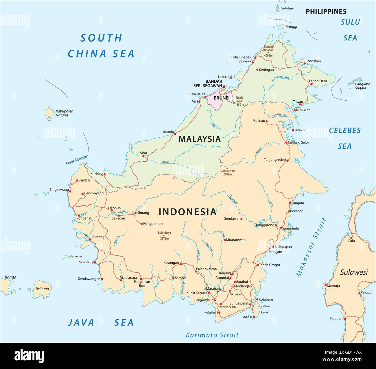 vector road map of Iseland Borneo / Kalimantan - Stock Vector