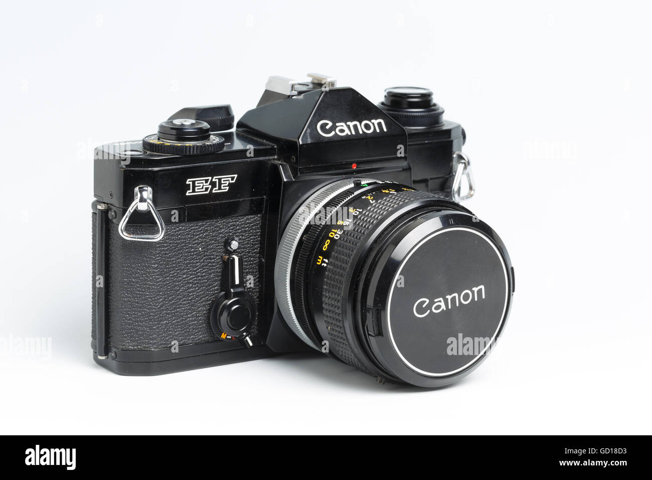 Canon EF SLR film camera, from 1973 - 1978, with 50mm f1.4 FD lens - Stock Image