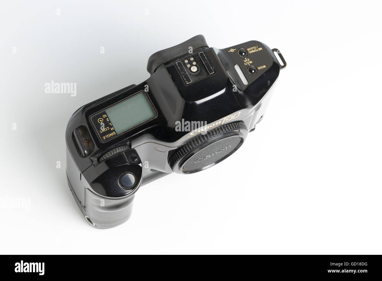 Canon T90 SLR camera, with automatic film advance and ergonomic design, or 'bio-form'. Designed by Luigi - Stock Image