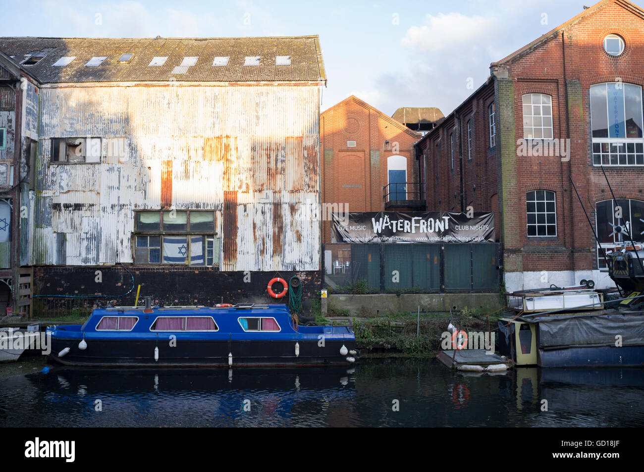 The rear of The Waterfront music venue in Norwich, Norfolk from the River Wensum - Stock Image