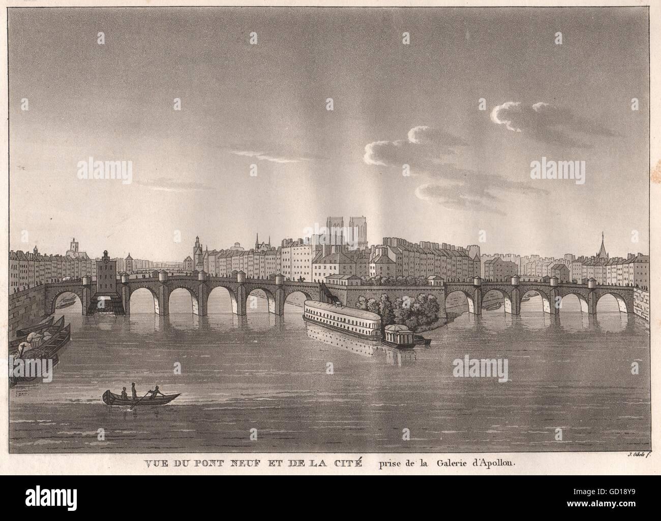 PARIS: Pont Neuf et Ile de la Cité prise de la Galerie d'Apollon. Aquatint, 1808 - Stock Image