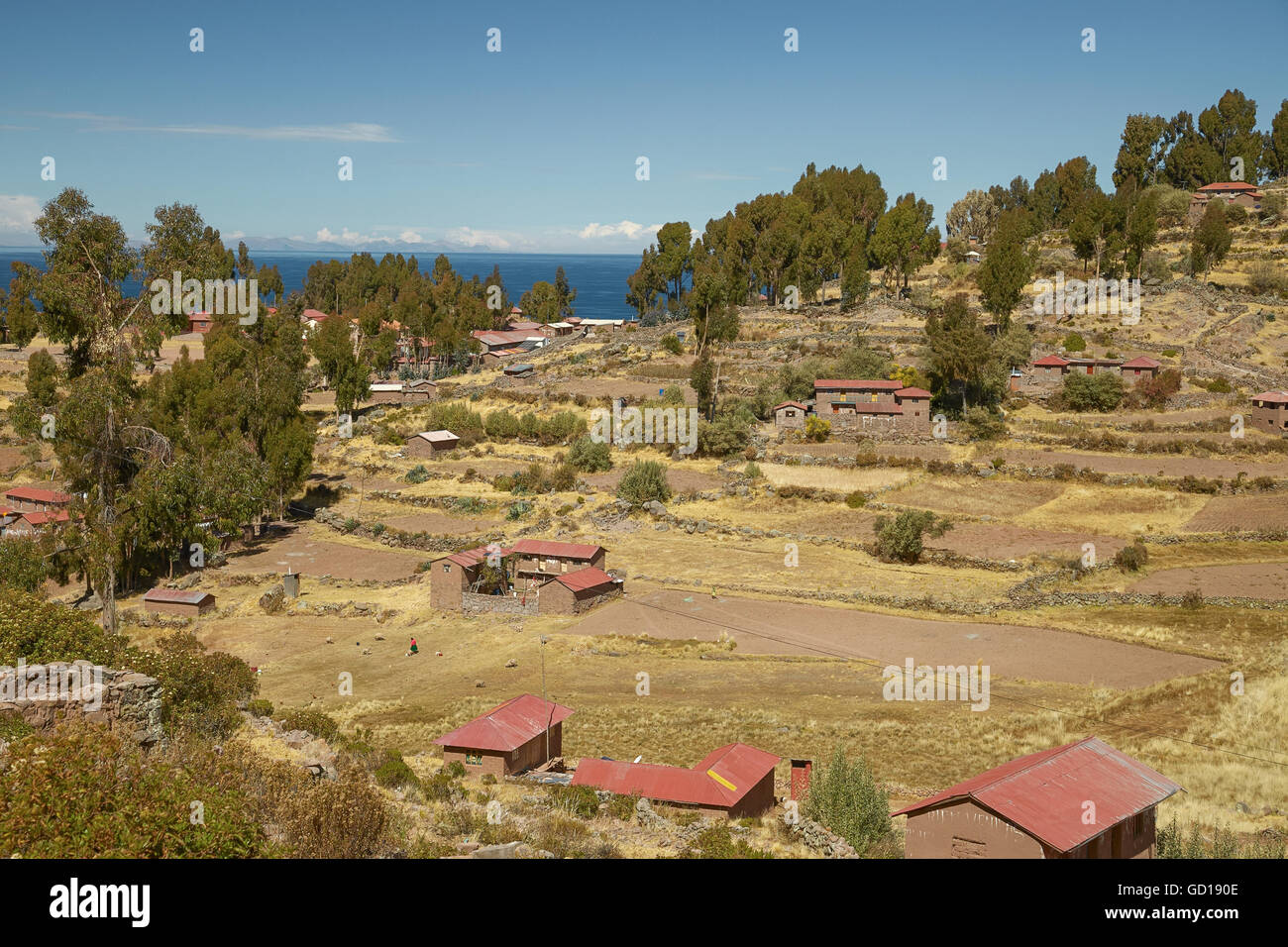 Houses of Local Peruvian People Living on Taquile Island (Isla Taquile) at Lake Titicaca  in Puno Peru. - Stock Image