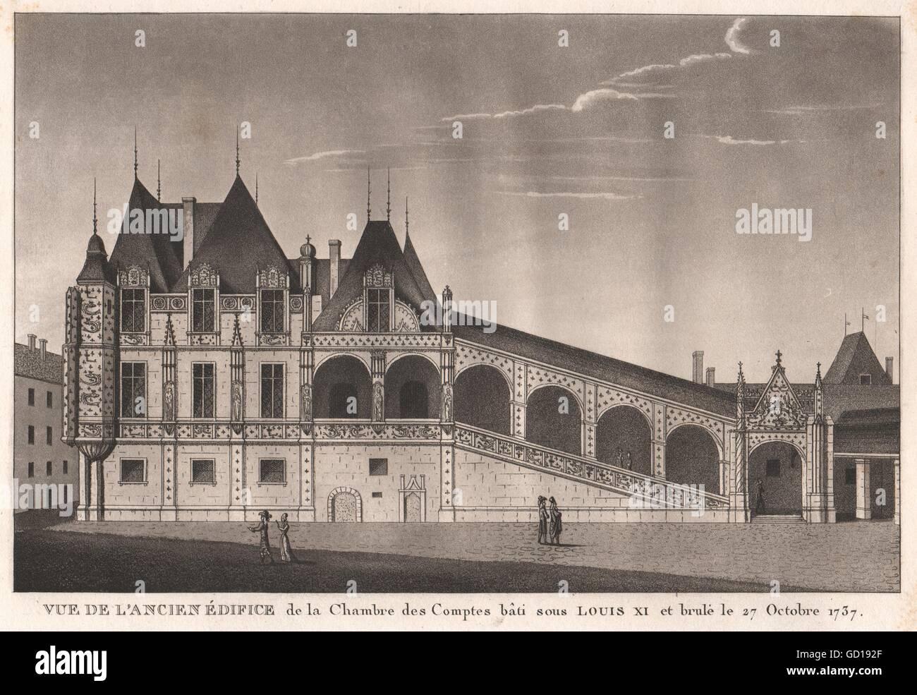 PARIS: Ancien Édifice de la Chambre des Comptes bâti 15C. Brulé 1737, 1808 - Stock Image
