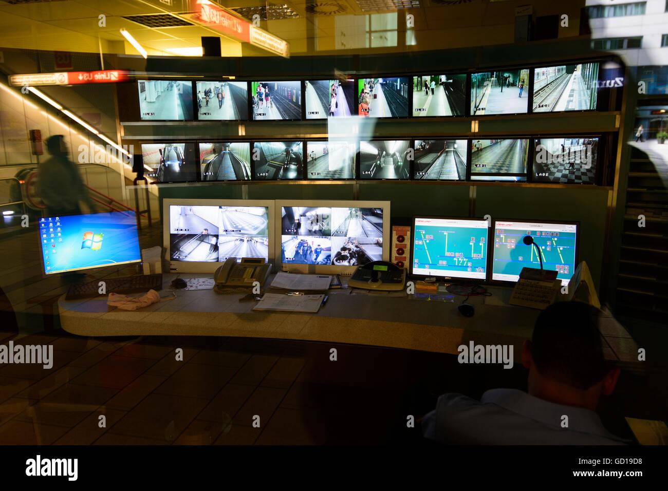 Wien, Vienna: monitoring center of Wiener Linien in the station Wien Mitte, Austria, Wien, 03. - Stock Image