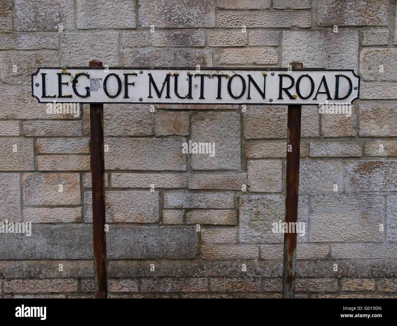 Unusual road name, Leg of Mutton Road, Glastonbury, Somerset, UK - Stock Image