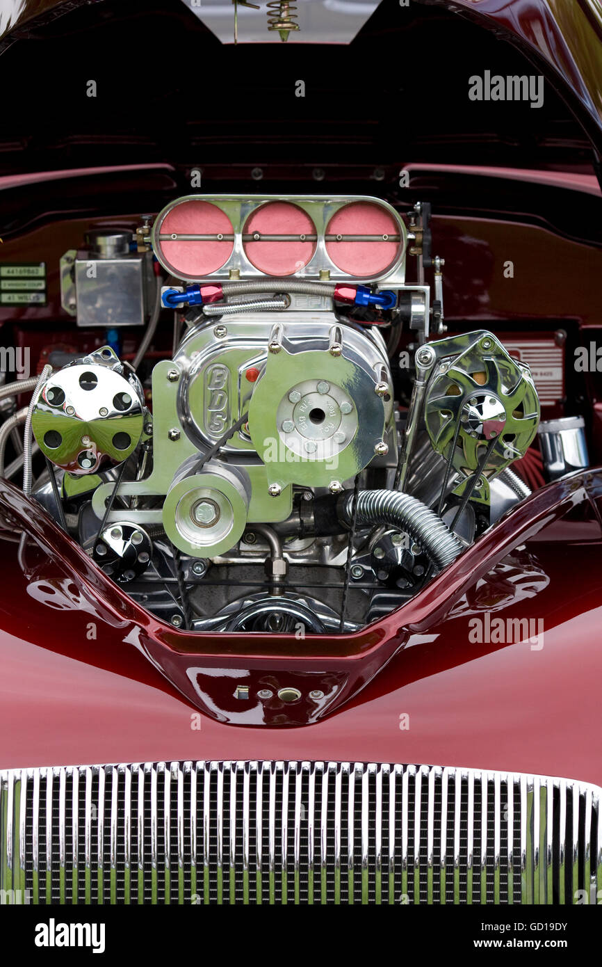 High power drag racing V8 BDS engine Stock Photo