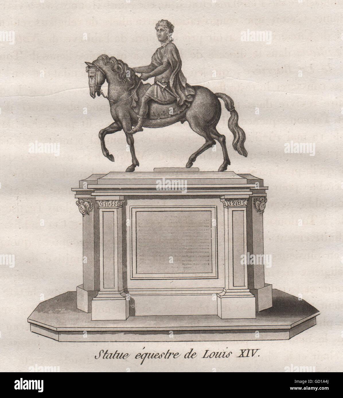 PARIS: Statue équestre de Louis XIV. Aquatint, antique print 1808 - Stock Image