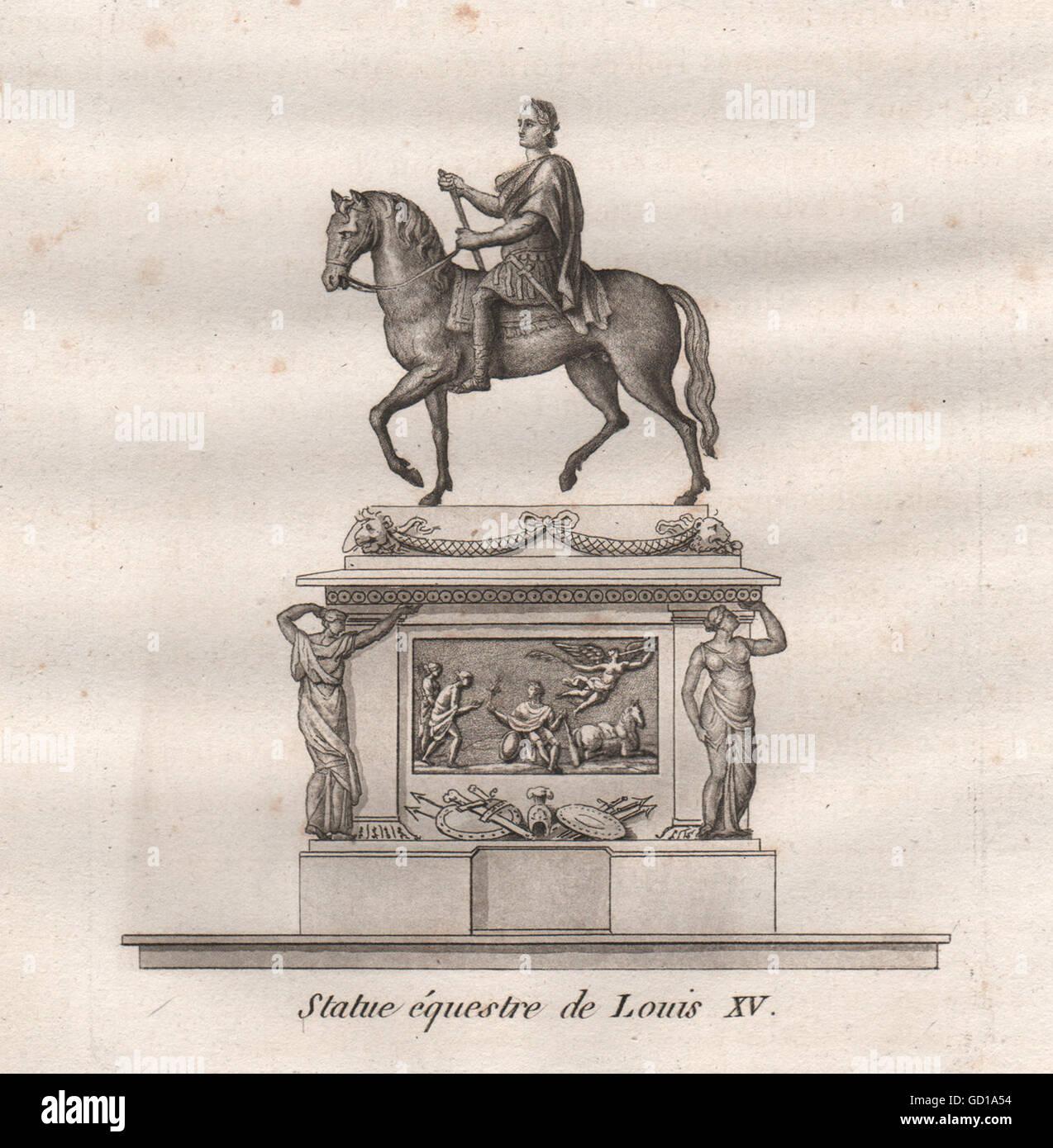 PARIS: Statue équestre de Louis XV. Aquatint, antique print 1808 - Stock Image