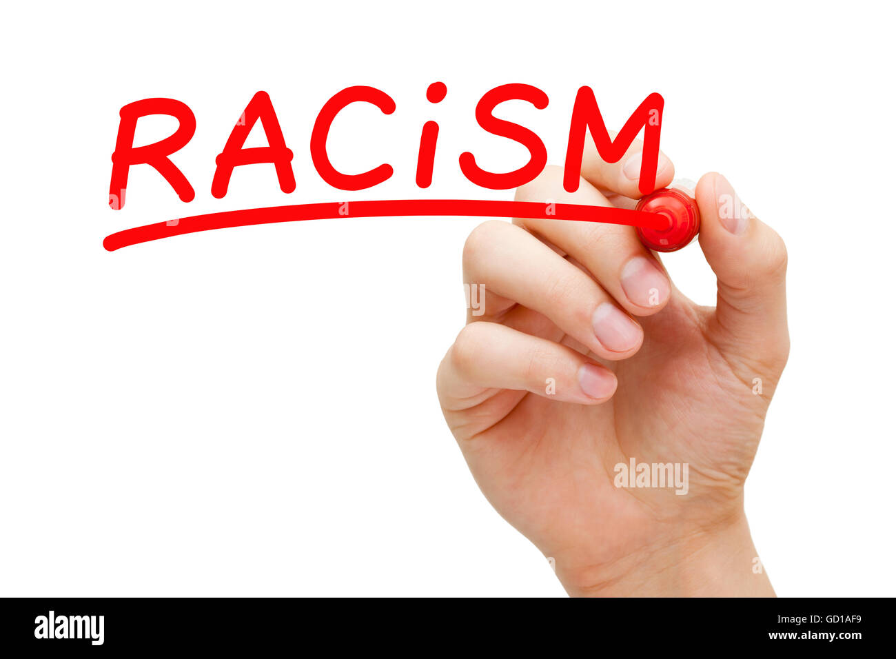 Hand writing Racism with red marker on transparent wipe board. - Stock Image