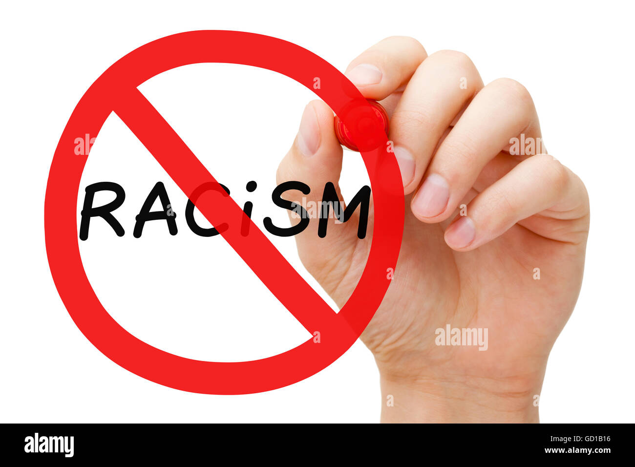Hand drawing Racism prohibition sign concept with marker on transparent wipe board. - Stock Image