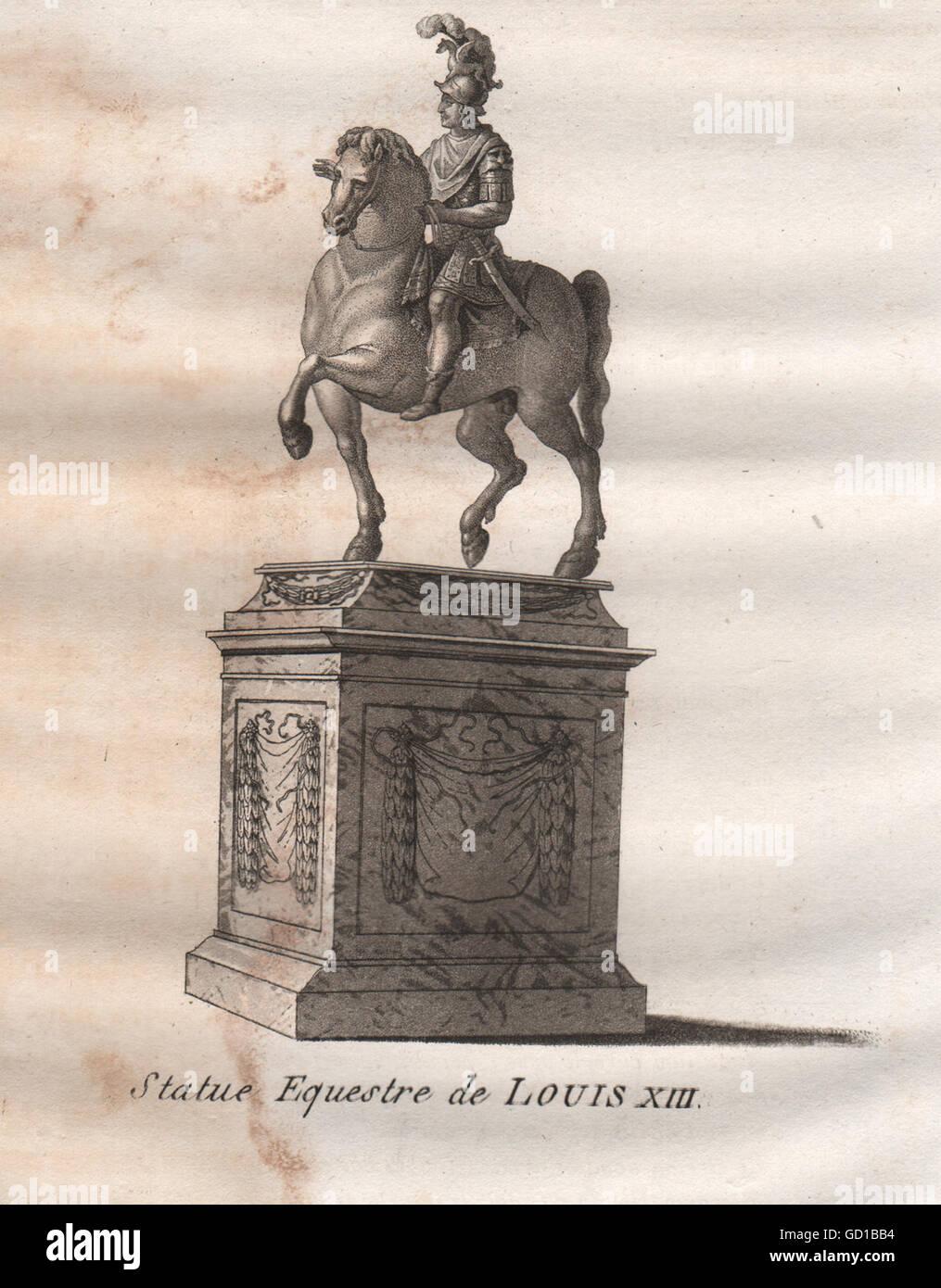PARIS: Statue Equestre de Louis XIII. Aquatint, antique print 1808 - Stock Image