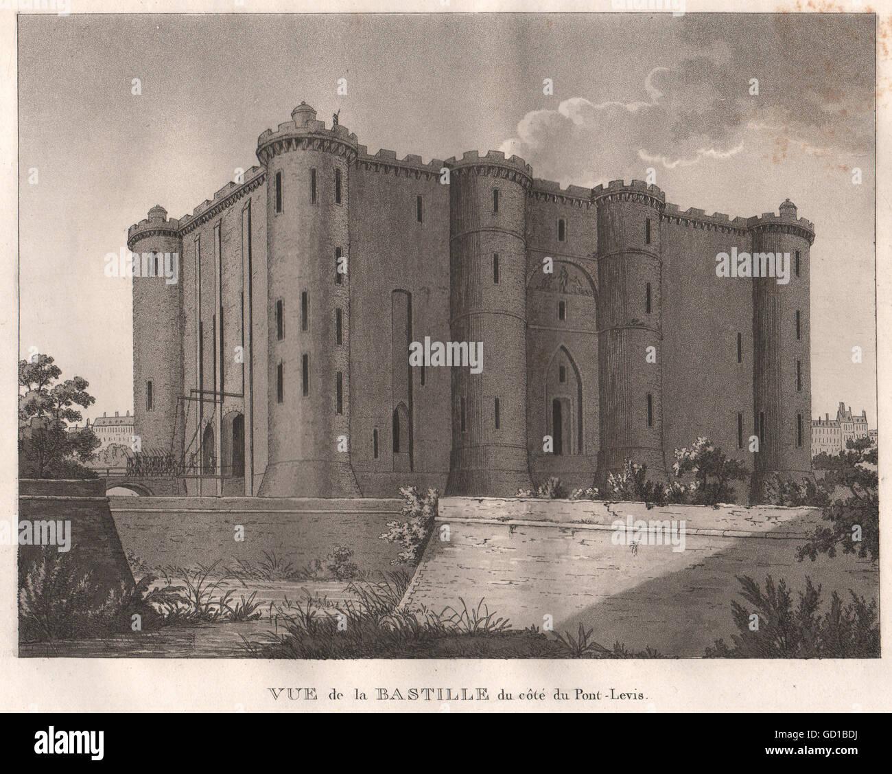 PARIS: Bastille du Côté du Pont-Levis. Aquatint, antique print 1808 - Stock Image