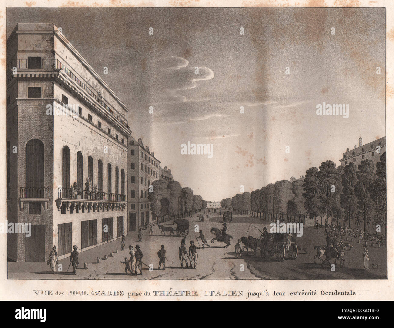 PARIS: Boulevards prise du Théatre Italien. Aquatint, antique print 1808 - Stock Image