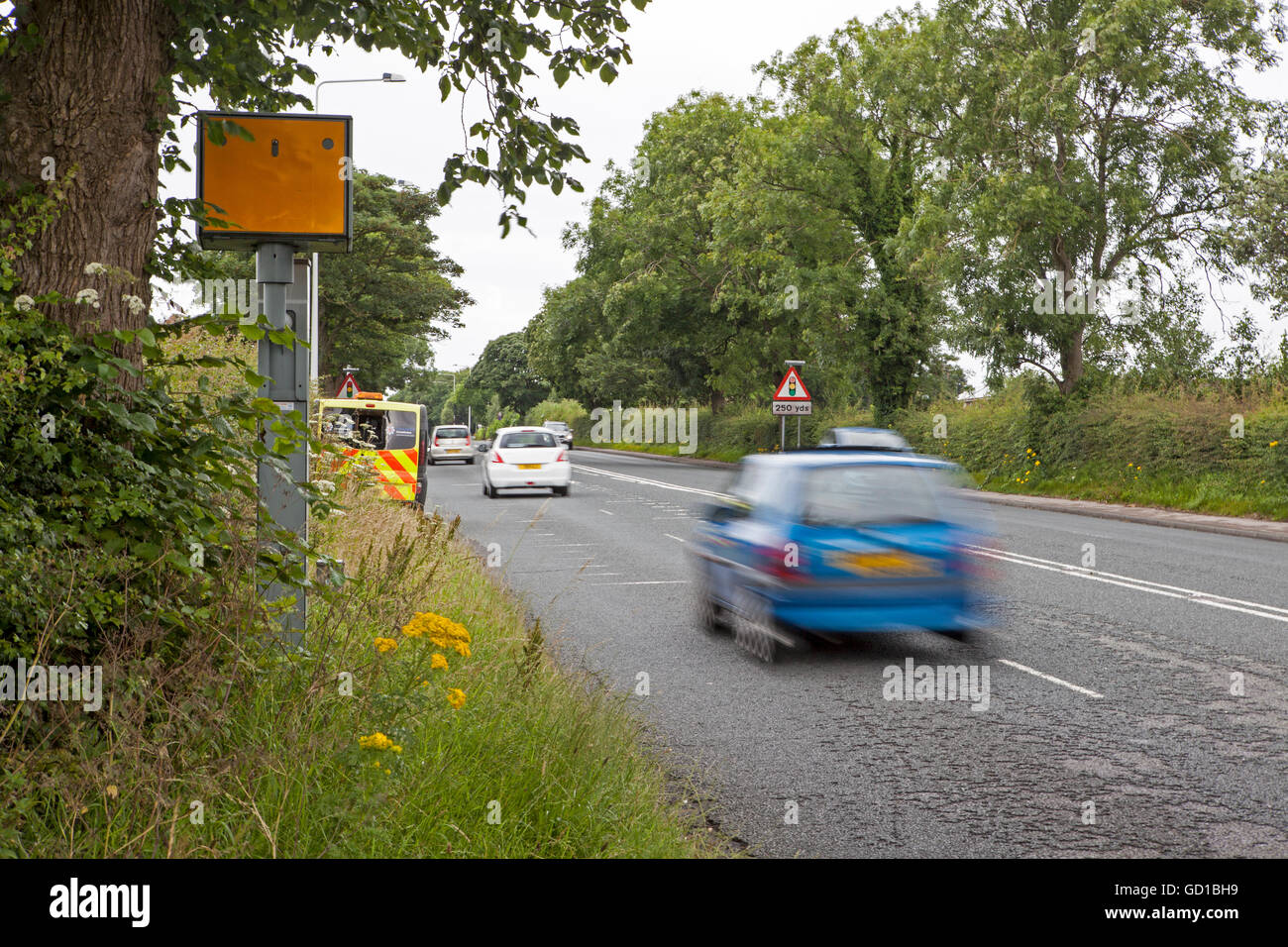 A 583, Preston New Road, Non-working redundant Gatso Fixed Speed camera, and mobile Police laser van operated by Stock Photo