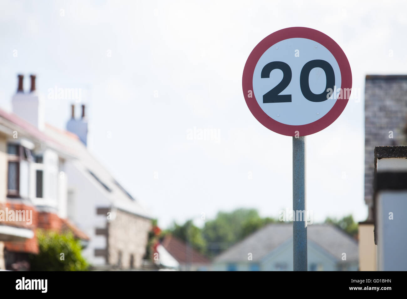 Color image of a 20km/h speed restriction road sign. Stock Photo
