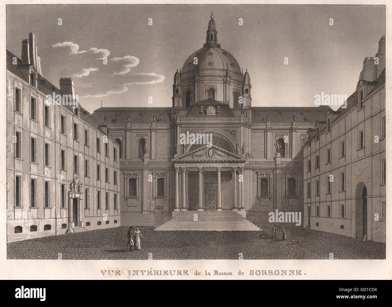 PARIS: Maison de Sorbonne. Aquatint, antique print 1808 - Stock Image