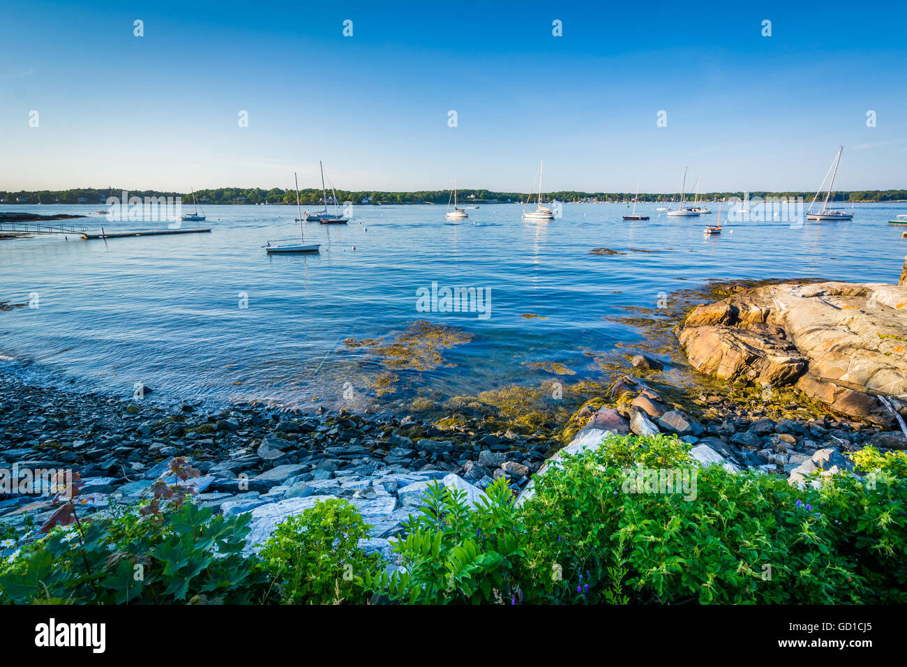 View of the Piscataqua River, in New Castle, Portsmouth, New Hampshire. - Stock Image