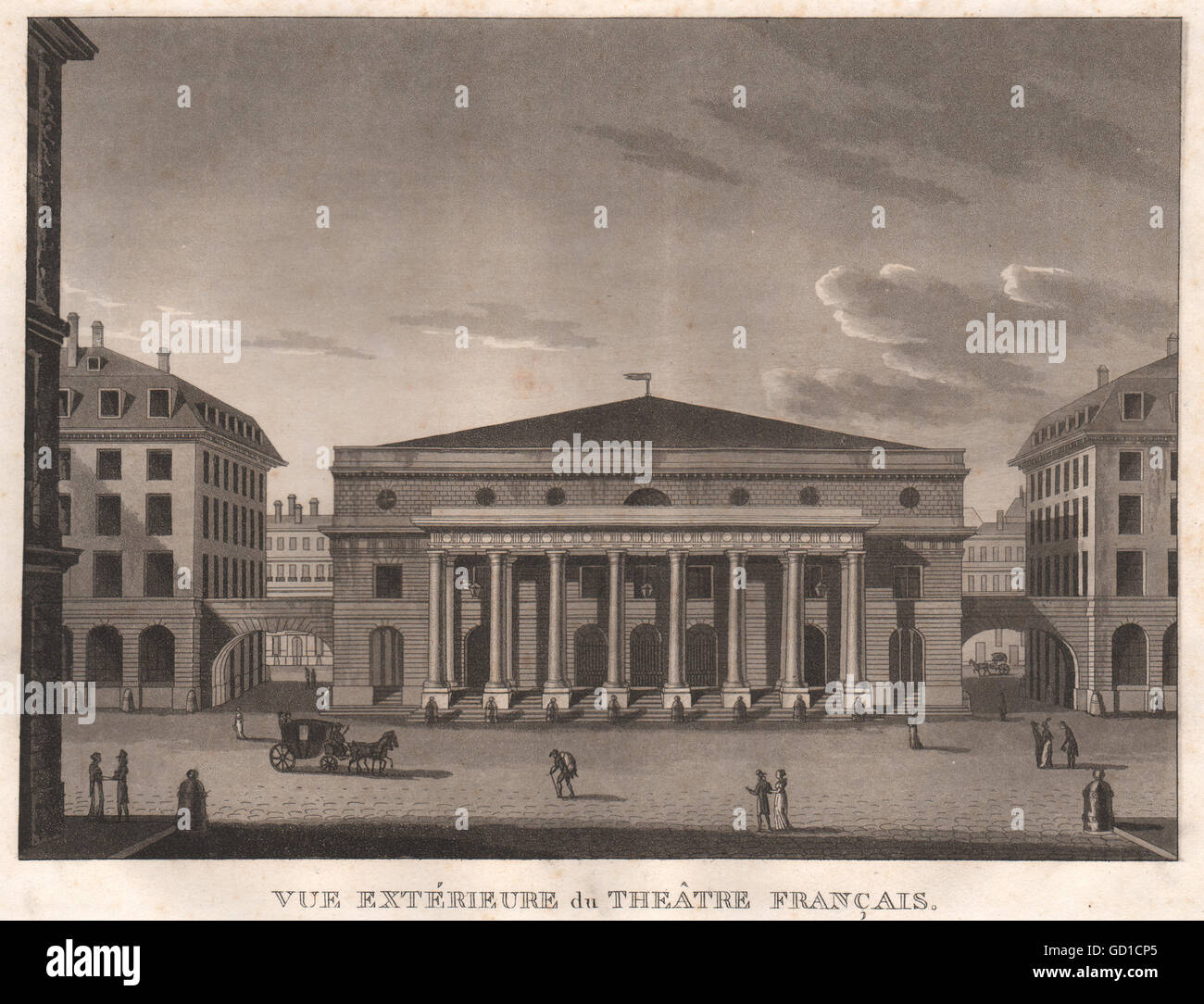 PARIS: Theâtre Français. Comédie-Française. Aquatint, antique print 1808 - Stock Image