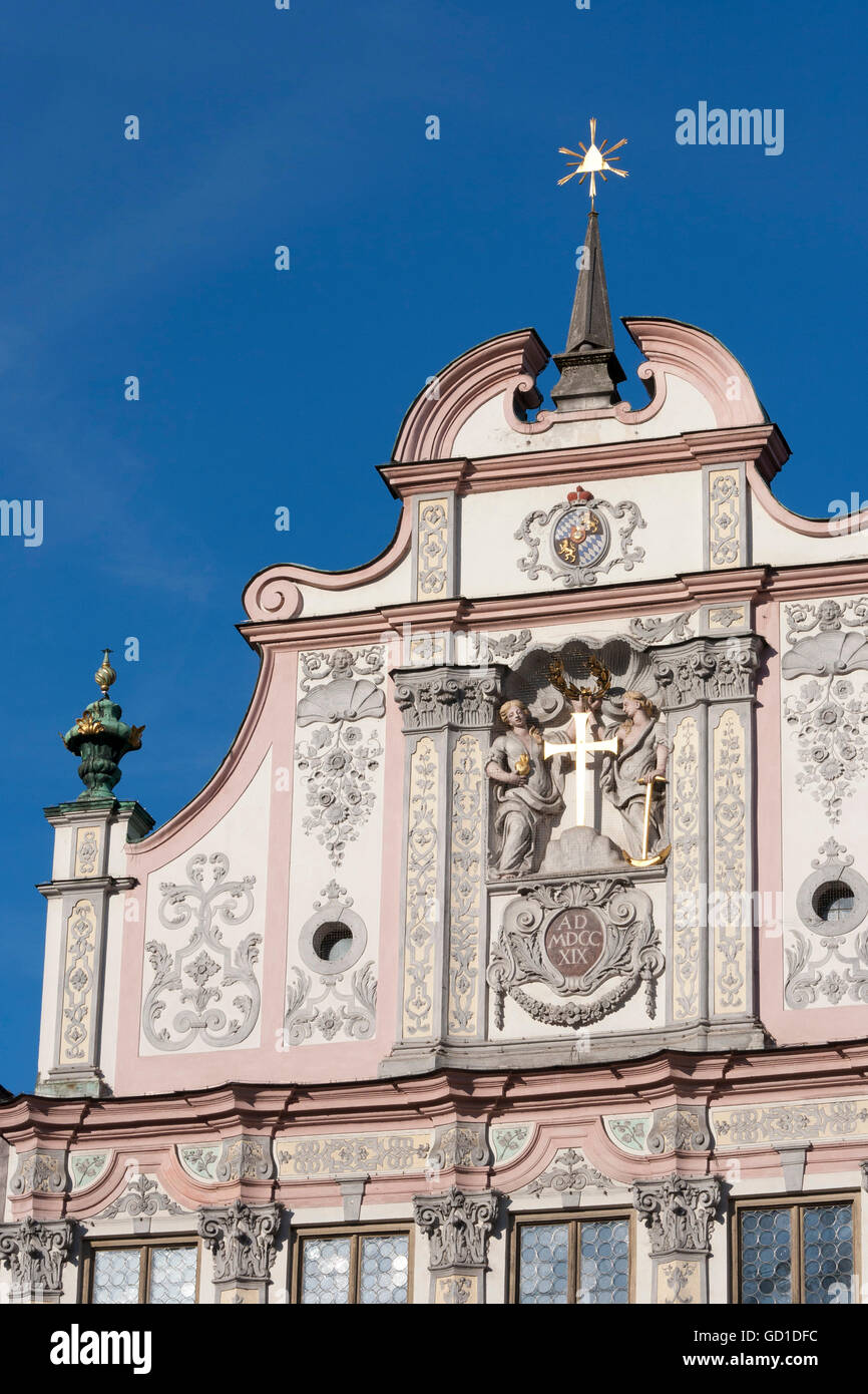 Town hall with stucco facade from 1719, Landsberg am Lech, Bavaria - Stock Image