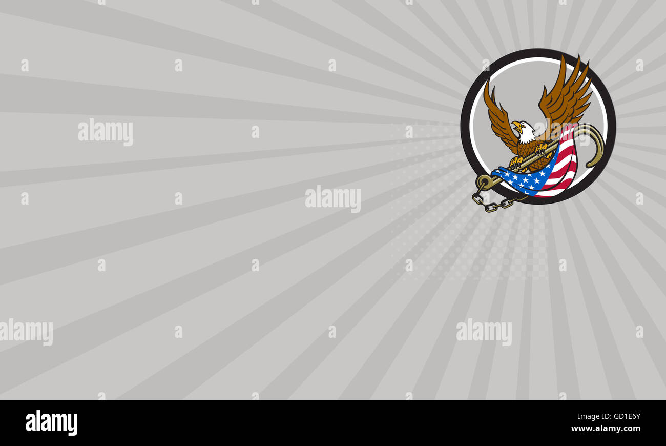 Business card showing illustration of an american bald eagle looking to the side clutching with its talon a towing - Stock Image