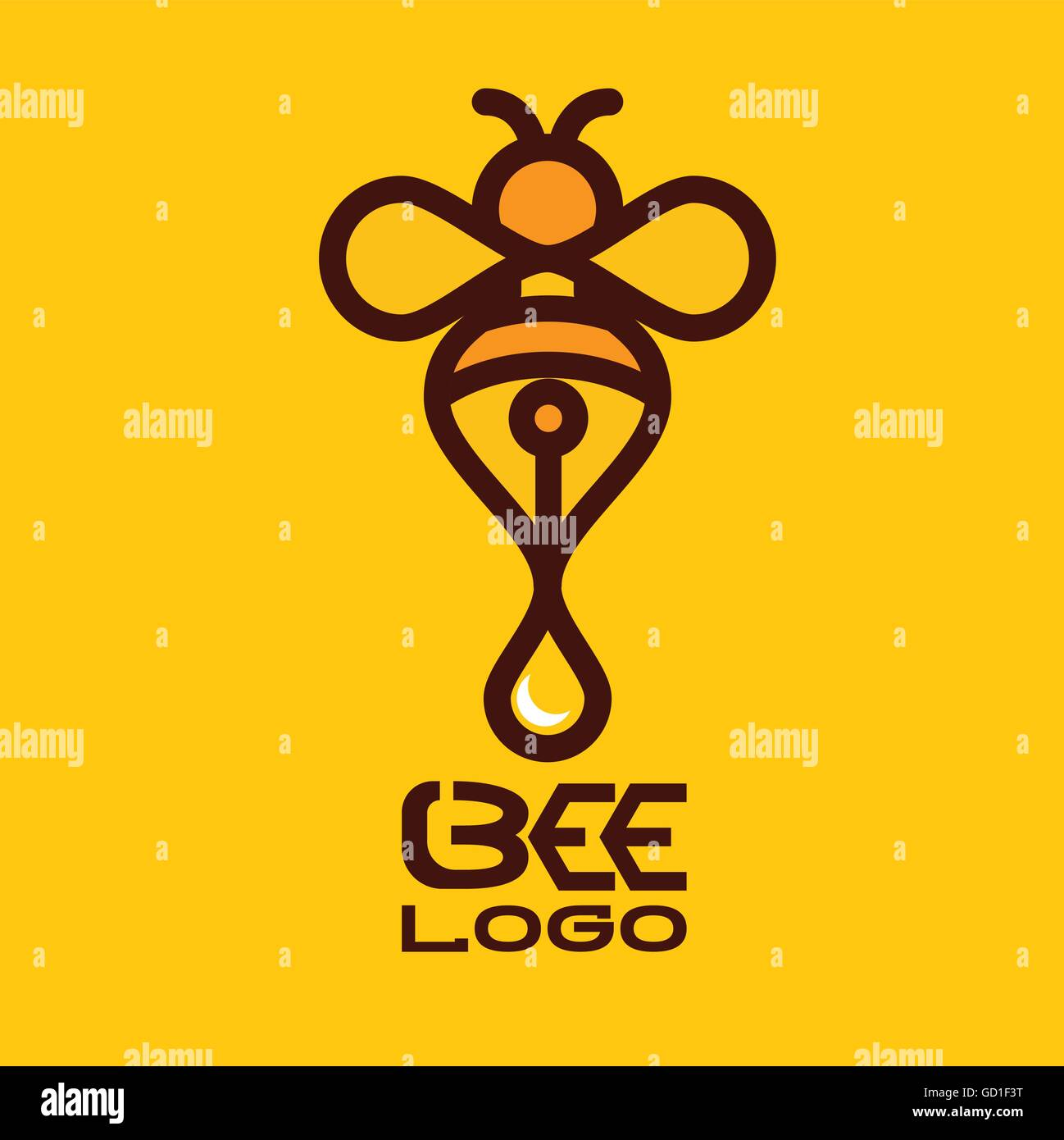 bee logo designed in a simple way so it can be use for multiple proposes like logo ,mark ,symbol or icon. - Stock Image