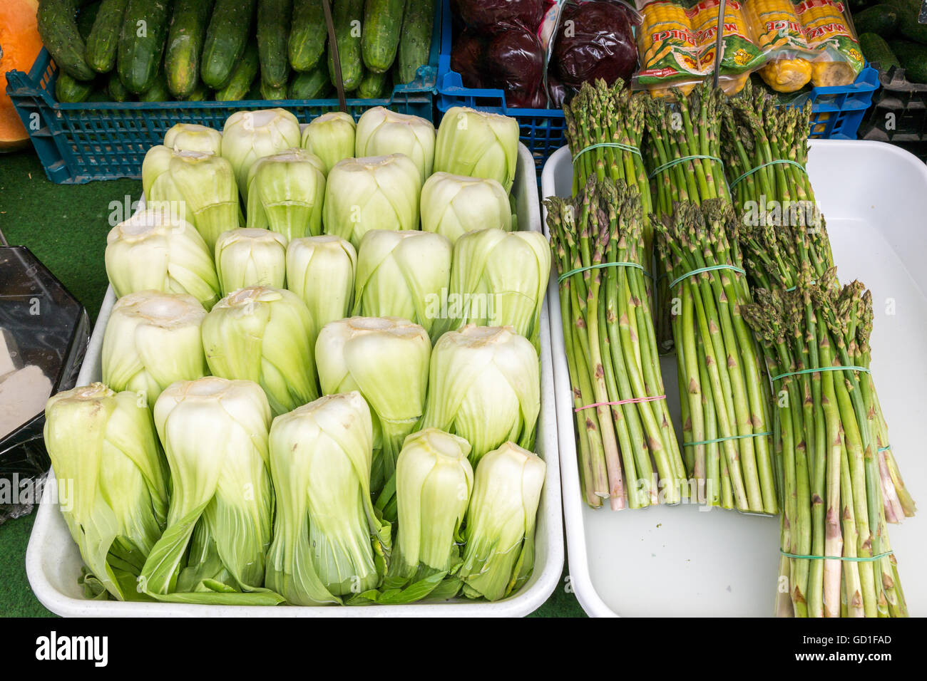 Chinese cabbage bok choy and bundles of fresh asparagus displayed in market stand on Naschmarkt in Vienna, Austria - Stock Image