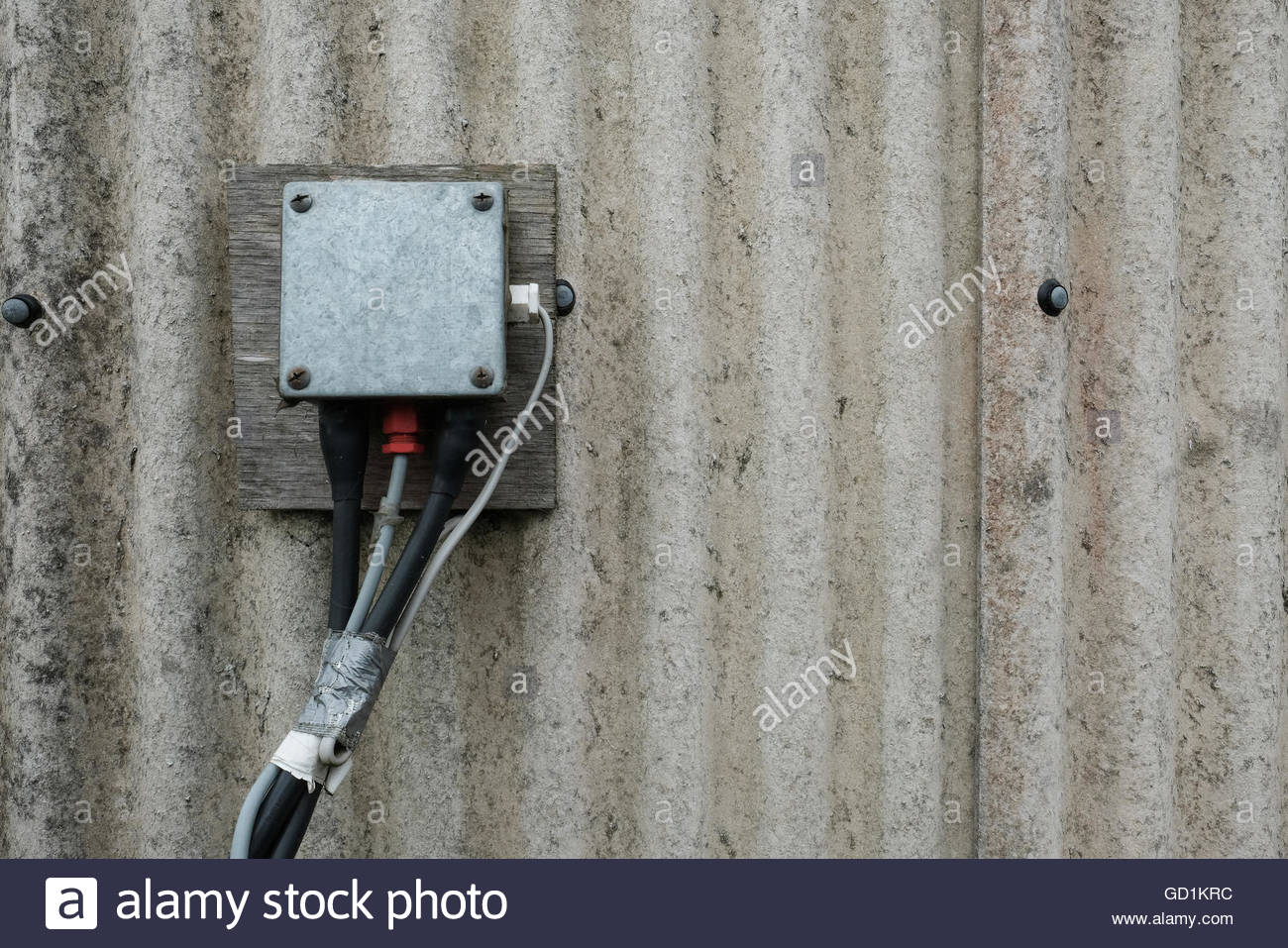 Electrical Junction Box Stock Photos Home Wiring Weather Proof As Seen On The Wall Of An Agricultural Building