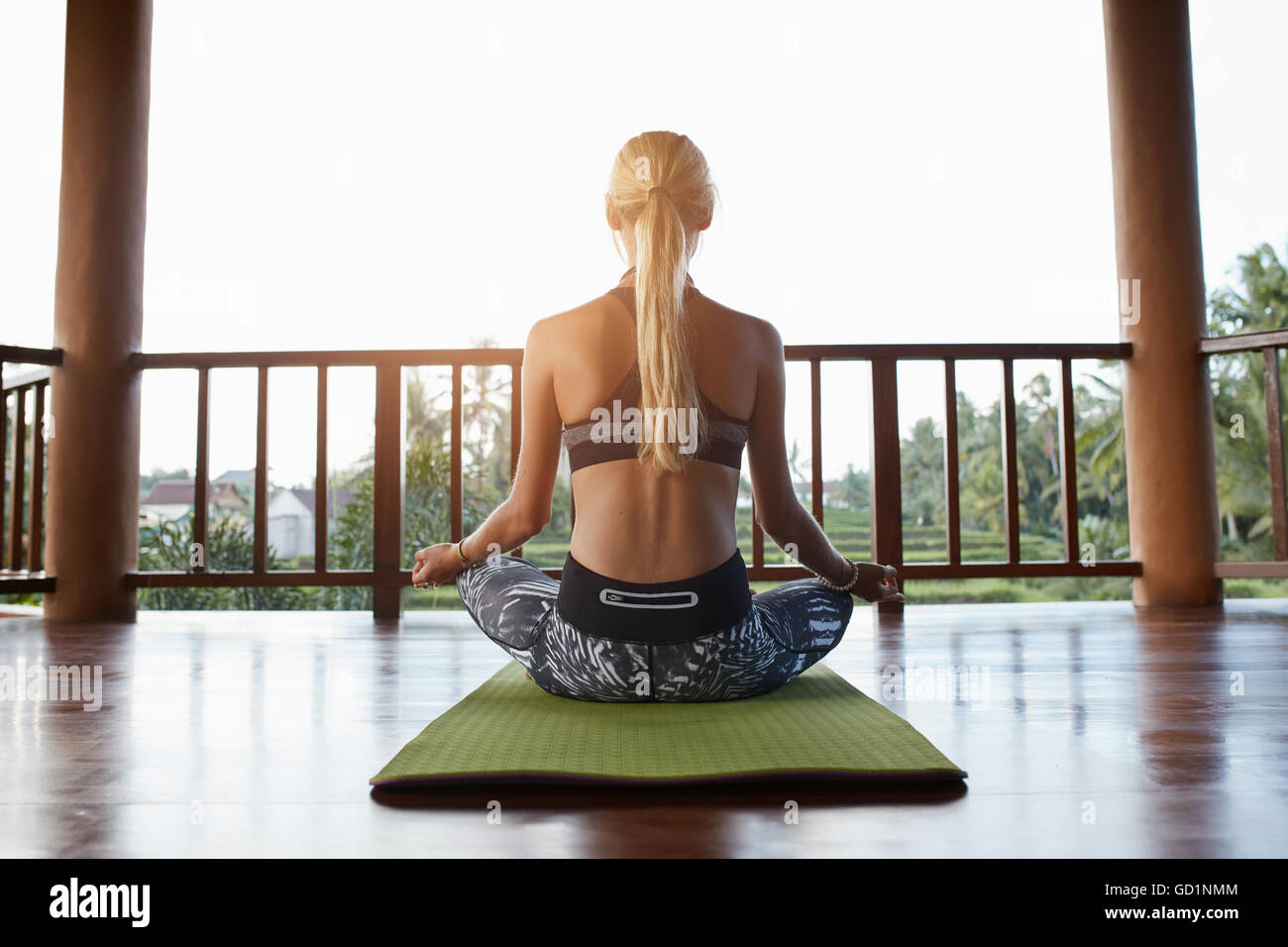 Rear view shot of young woman practicing yoga while sitting in lotus position on exercise mat. Sporty woman padmasana - Stock Image