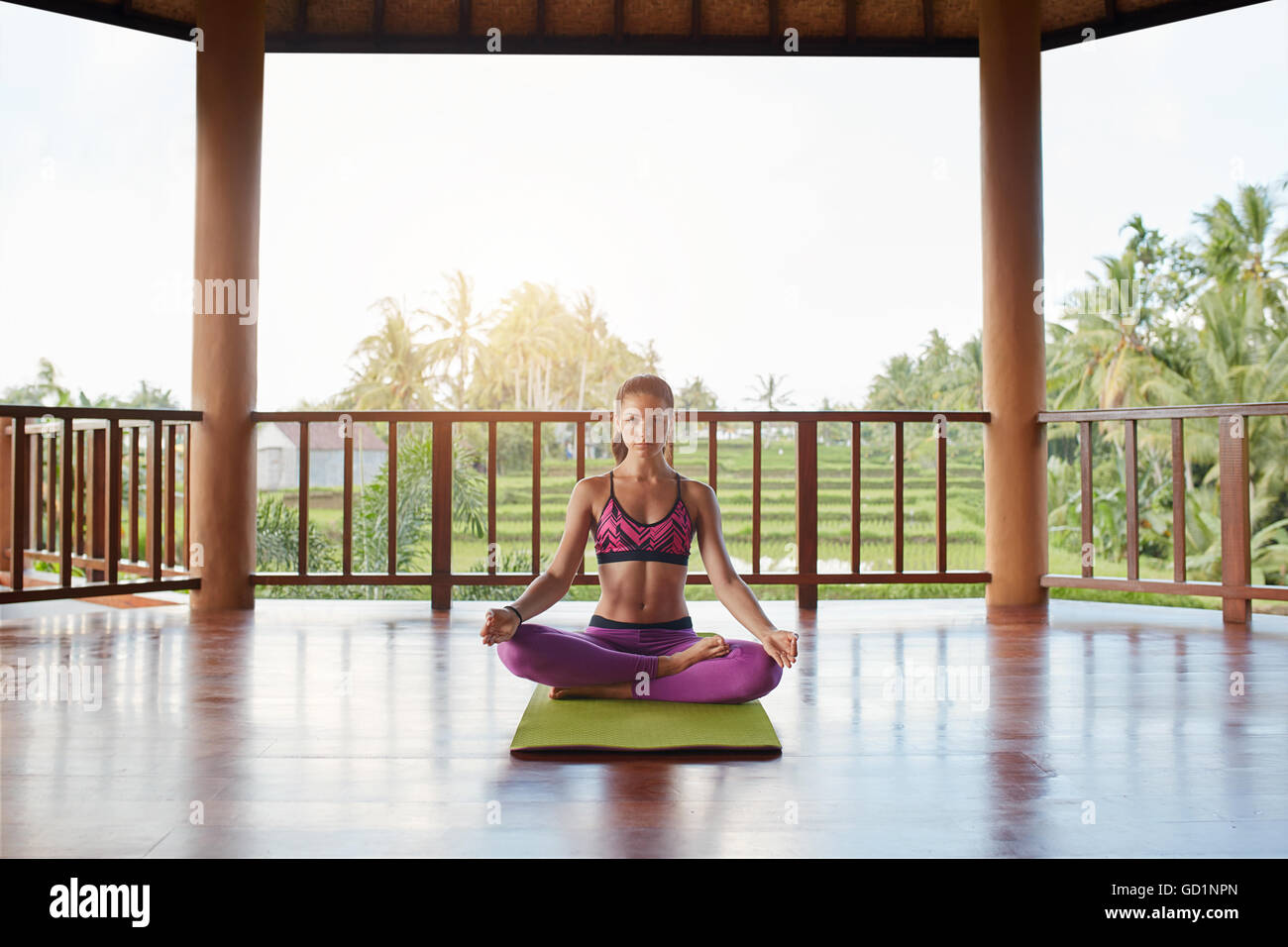 Shot of beautiful young woman meditating in lotus yoga position at health center. Healthy young female practising - Stock Image