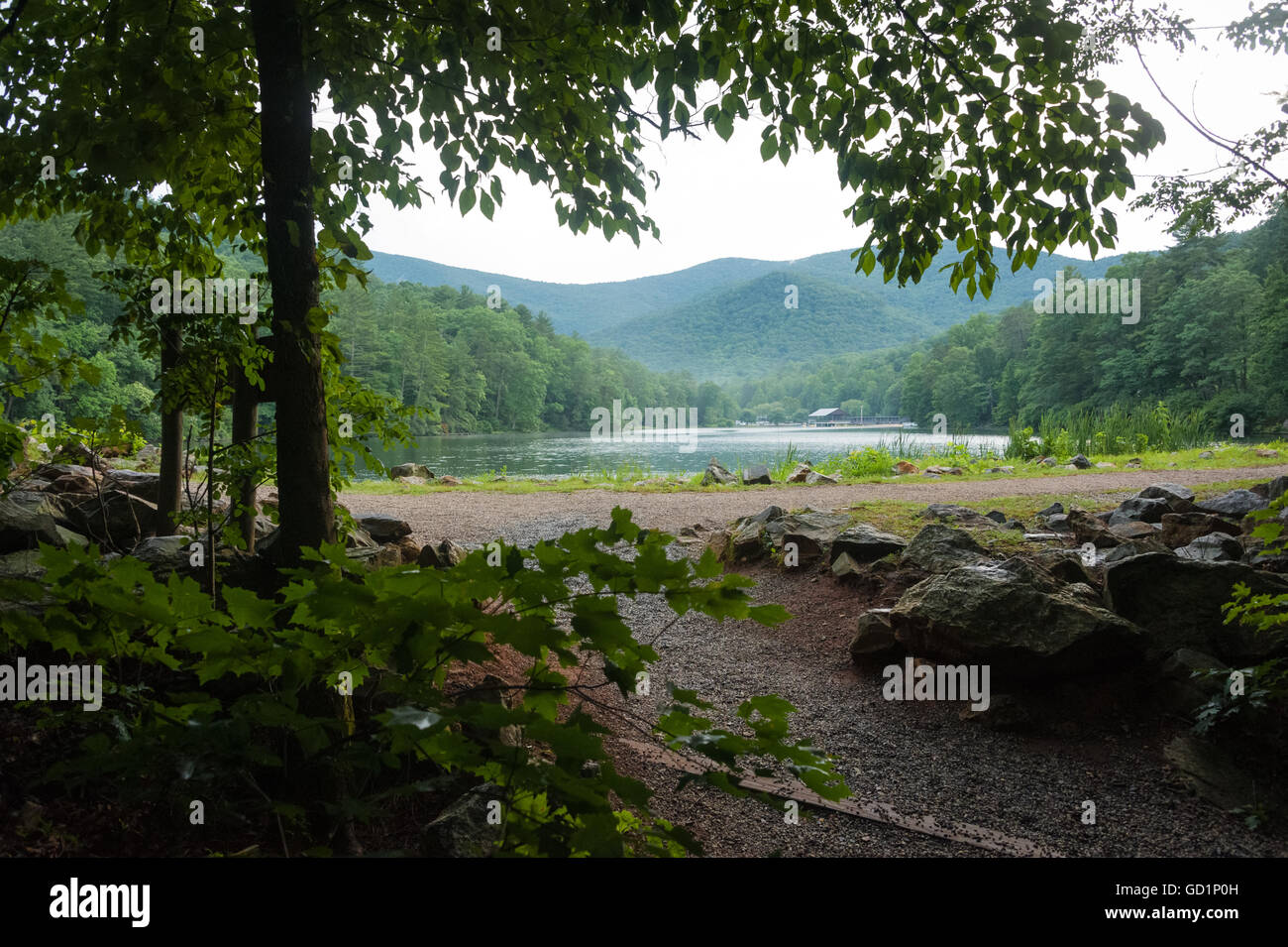 Beautiful Vogel State Park on Lake Trahlyta, nestled in the Blue Ridge Mountains of North Georgia near the Appalachian - Stock Image