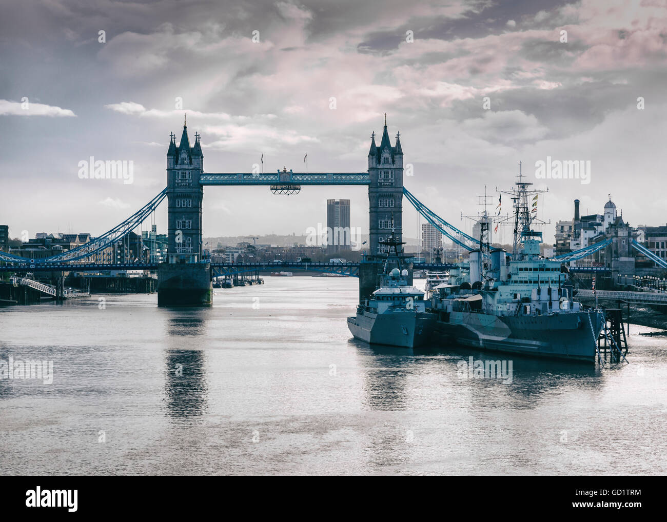 Tower Bridge, HMS Belfast ship and River Thames. London, United Kingdom, Europe Stock Photo