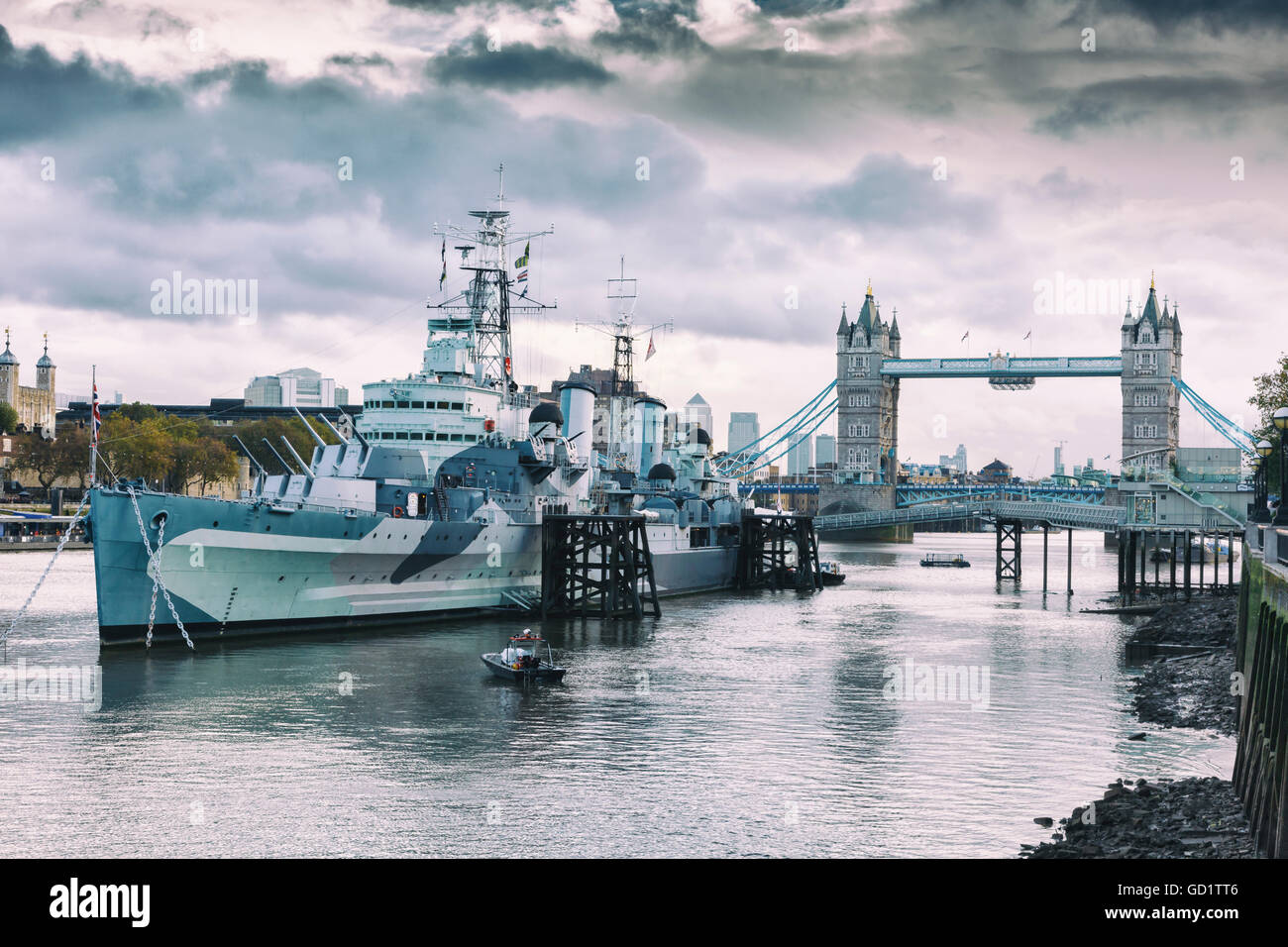 Tower Bridge, HMS Belfast ship and River Thames. London, United Kingdom, Europe - Stock Image