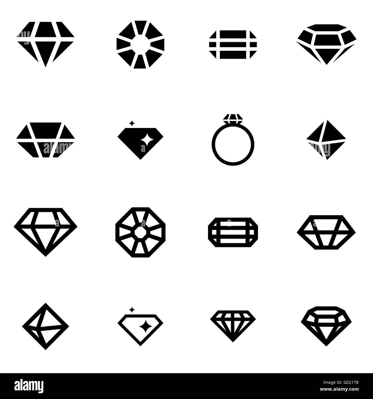 Vector black diamond icon set - Stock Image