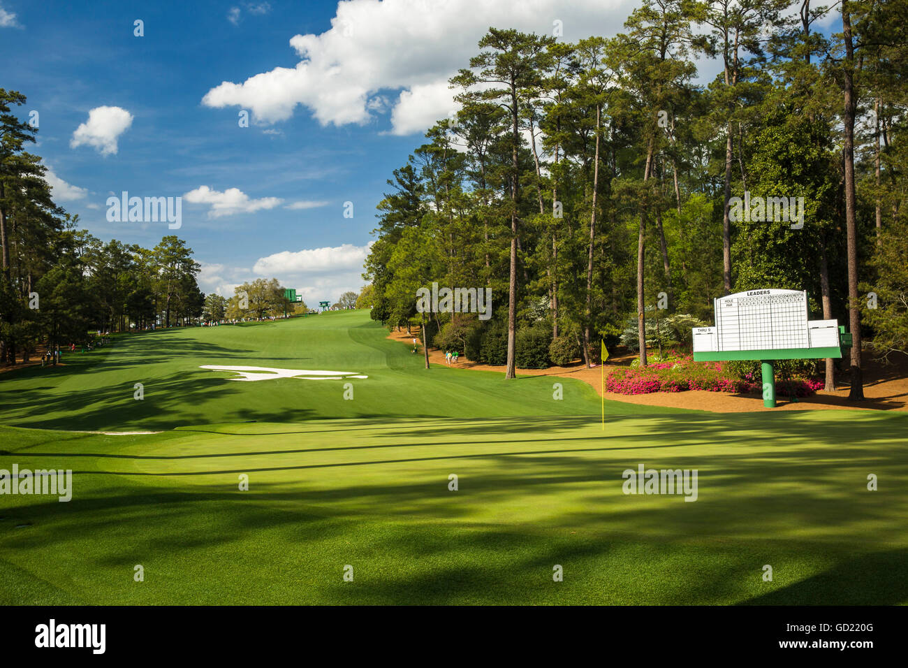 Looking behind the 10th green at Augusta National Golf Club during the US Masters, Augusta, Georgia, United States - Stock Image