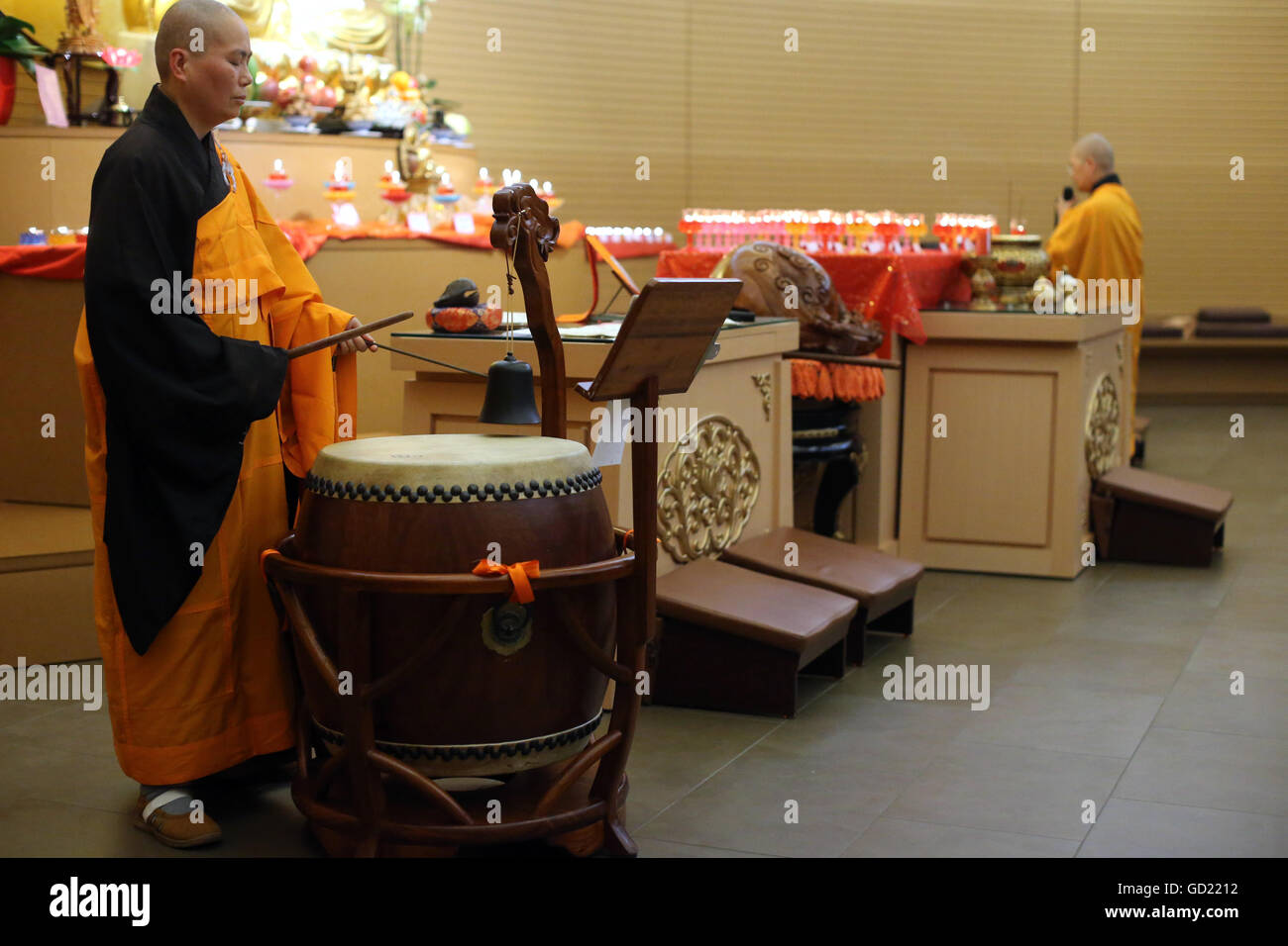 Drum and bell, Buddhist ceremony, Fo Guang Shan temple, Geneva, Switzerland, Europe - Stock Image
