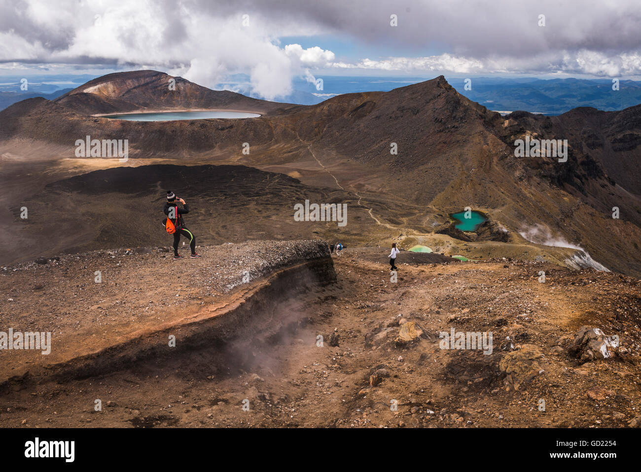 Tongariro Alpine Crossing Trek, Tongariro National Park, UNESCO World Heritage Site, North Island, New Zealand, - Stock Image
