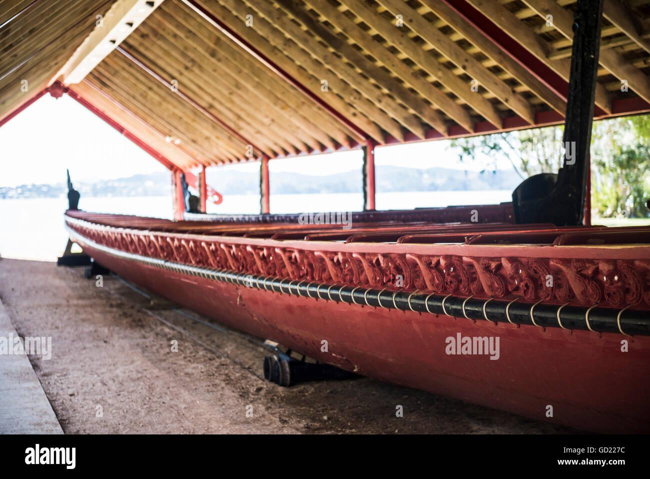 Maori boat, Waitangi Treaty Grounds, Bay of Islands, Northland Region, North Island, New Zealand, Pacific - Stock Image