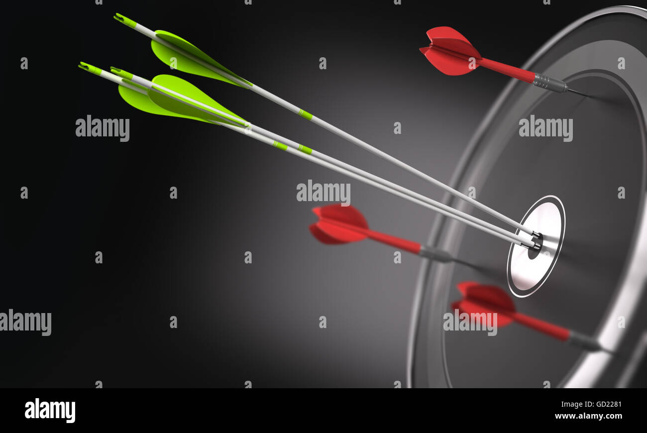 Three green arrows hitting the center of a black target and 3 darts out of the objective. Business strategy or competitive - Stock Image