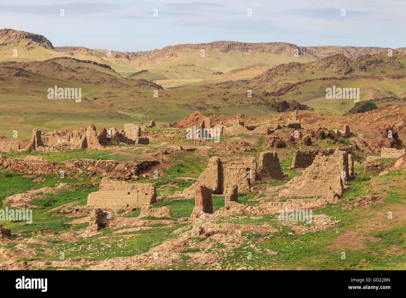 Ongiin Khiid monastery ruins, Saikhan Ovoo, The Gobi, Mongolia, Central Asia, Asia - Stock Image