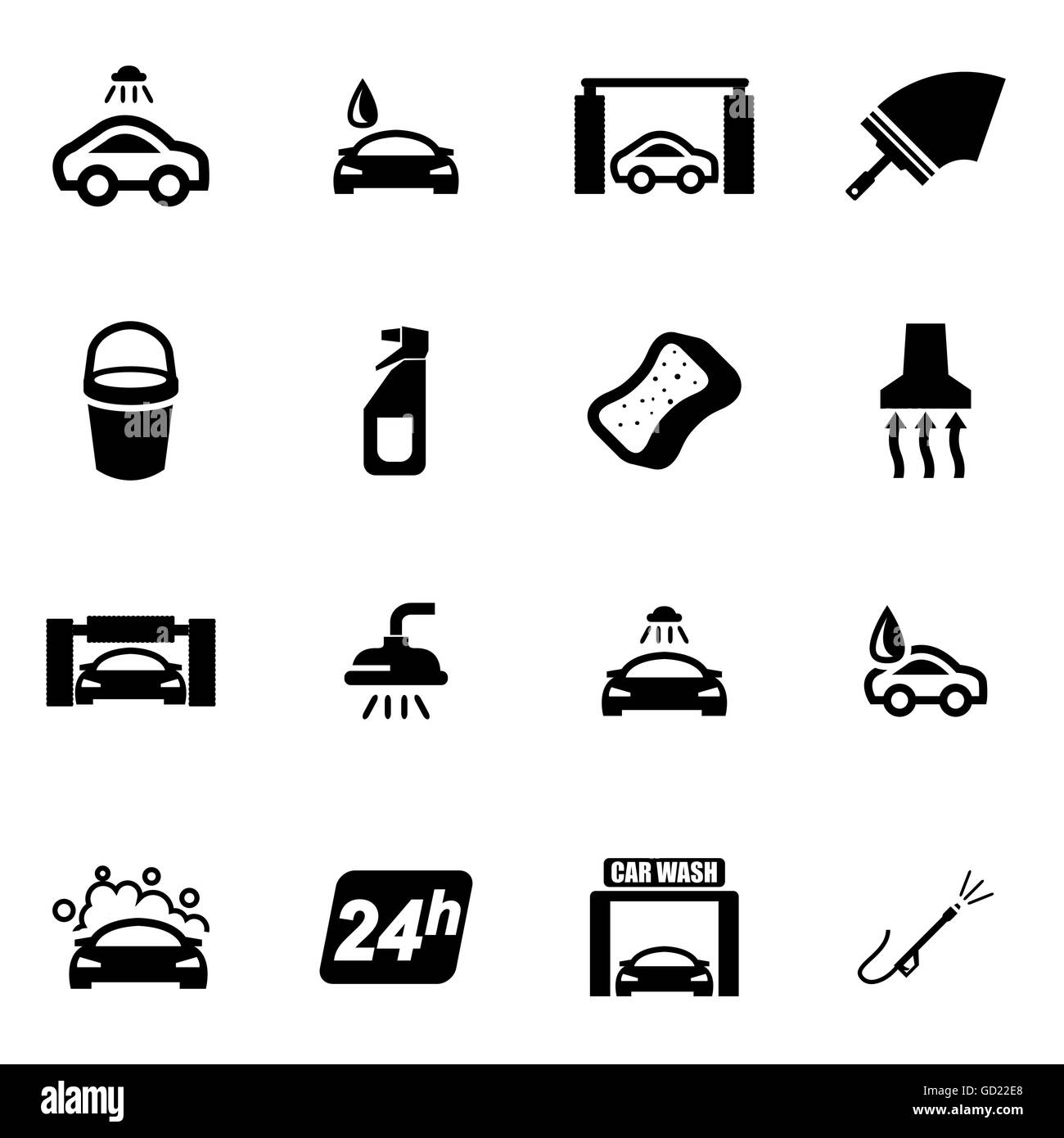 Vector Black Car Wash Icon Set Stock Vector Art Illustration
